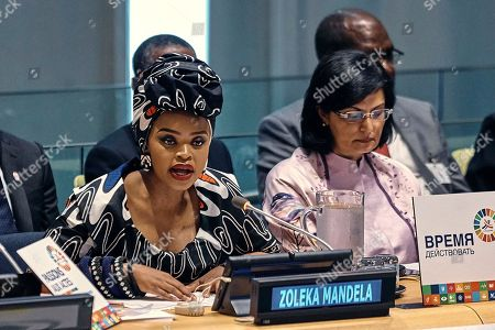 Nelson Mandela's granddaughter, Zoleka Mandela speaks during a High Level Meeting on Non-communicable Diseases at U.N. headquarters