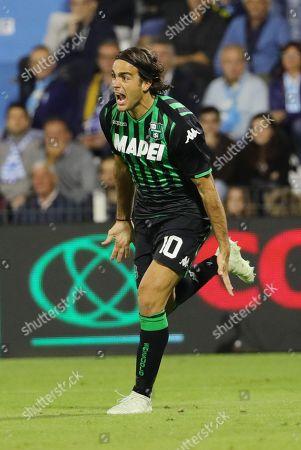 Sassuolo's Alessandro Matri celebrates scoring the 2-0 goal during the Italian Serie A soccer match between Spal 2013 and US Sassuolo at Paolo Mazza stadium in Ferrara, Italy, 27 September 2018.
