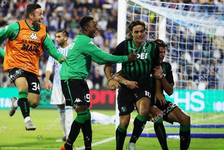 Sassuolo's Alessandro Matri (C) celebrates with teammates scoring the 2-0 goal during the Italian Serie A soccer match between Spal 2013 and US Sassuolo at Paolo Mazza stadium in Ferrara, Italy, 27 September 2018.