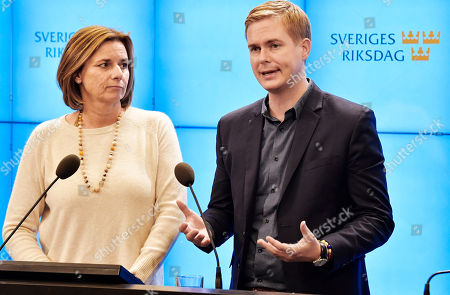 Swedish Green Party spokespersons Isabella Lovin (L) and Gustav Fridolind (R) give a statement at a news conference after meeting with the Speaker of Parliament in Stockholm, Sweden, 27 September 2018. All party leaders will meet with the Speaker of Parliament who will then decide who to nominate for Prime Minister. No party got enough votes in the 09 September elections to form a majority government. Sweden's prime minister Stefan Lofven lost a no-confidence vote in parliament on 25 September.