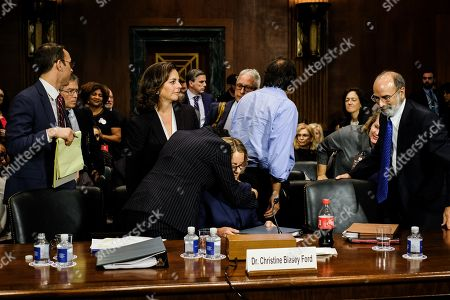Christine Blasey Ford is hugged by her lawyer Debra S. Katz after the hearing. The Senate Judiciary Committee hearing for Dr. Christine Blasey Ford to testify about sexual assault allegations against Supreme Court nominee Judge Brett M. Kavanaugh at the Dirksen Senate Office Building on Capitol Hill
