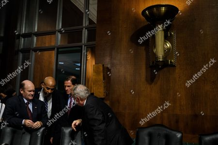 Democratic Senators Christopher A. Coons, Cory Booker, Richard Blumenthal, and Richard Durbin.