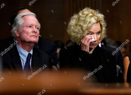Edward Kavanaugh and his wife Martha, parents of Supreme court nominee Kavanaugh, listen as he testifies before the Senate Judiciary Committee on Capitol Hill