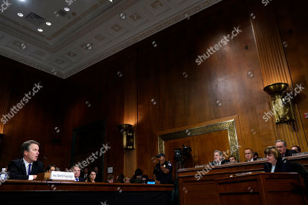 Supreme Court nominee Brett Kavanaugh testifies before the Senate Judiciary Committee on Capitol Hill in Washington,. At right is Phoenix prosecutor Rachel Mitchell.