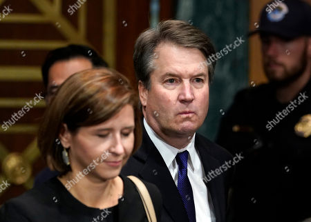 Stock Photo of Judge Brett Kavanaugh arrives to testify with his wife Ashley Estes Kavanaugh Estes Kavanaugh before the Senate Judiciary Committee on Capitol Hill