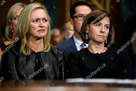 Ashley Estes Kavanaugh, right, wife of Supreme court nominee Brett Kavanaugh listens as he testifies before the Senate Judiciary Committee on Capitol Hill