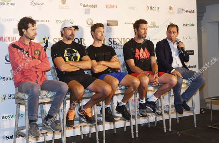 (L-R) Retired professional tennis players Paco Clavet, Goran Ivanisevic, Juan Carlos Ferrero, Marat Safin and Alber Costa attend the presentation of the 3rd edition of Senior Masters Cup tennis tournament in Marbella, Spain, 27 September 2018