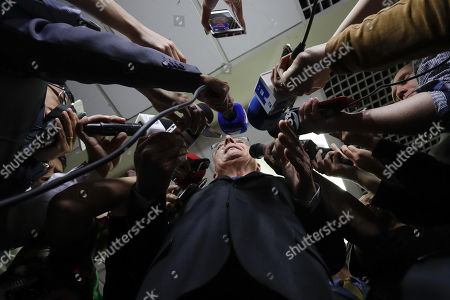 Geraldo Alckmin, candidate for the Presidency of Brazil for the Brazilian Social Democracy Party (PSDB), delivers statements to the press after a religious meeting with parishioners and leaders of evangelical churches during a campaign event, in Sao Paulo, Brazil, 27 September 2018. Amid the growing prominence of religion in Brazilian politics, several presidential candidates meet with pastors and leaders of evangelical churches in the framework of the largest Christian fair in Latin America, 'ExpoCrista', to search for the evangelical votes in Brazil presidential, legislative and regional elections scheduled for 07 October 2018.