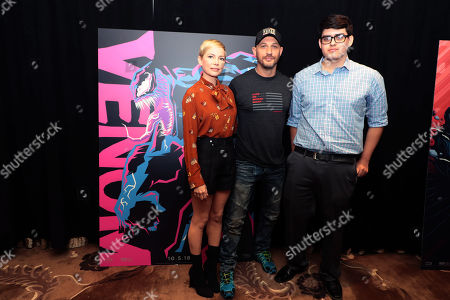 Stock Photo of Michelle Williams, Tom Hardy and Emmanuel Esparza, one of the five winners of Talenthouse's #Venom Fan Art Program - a month long event cultivating Venom inspired artwork from artists worldwide
