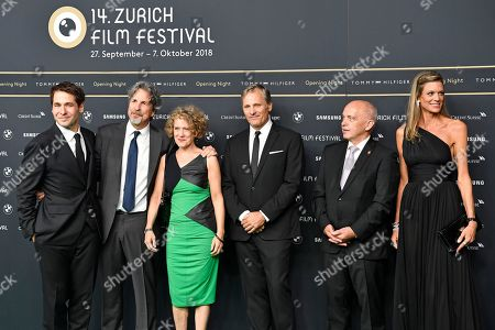 Festival  director Karl Spoerri, US director Peter Farrelly, Corine Mauch, mayor of Zuerich, US actor Viggo Mortensen, Swiss Federal Ueli Maurer and and Festival  co-director Nadja Schildknecht pose on the Green Carpet before the screening of 'Green Book' at the 14th Zurich Film Festival (ZFF) in Zurich, Switzerland, 27 September 2018. The festival runs from 27 September to 07 October.