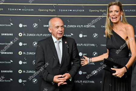 Swiss Federal Ueli Maurer (L)  and Zurich Film Festival co-director Nadja Schildknecht pose on the Green Carpet before the screening of 'Green Book' at the 14th Zurich Film Festival (ZFF) in Zurich, Switzerland, 27 September 2018. The festival runs from 27 September to 07 October.