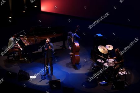 Portuguese singer Salvador Sobral (2-L) performs during a concert at the Museo Universidad de Navarra in Pamplona, Spain, 27 September 2018, to present his new album, 'Excuse me'.