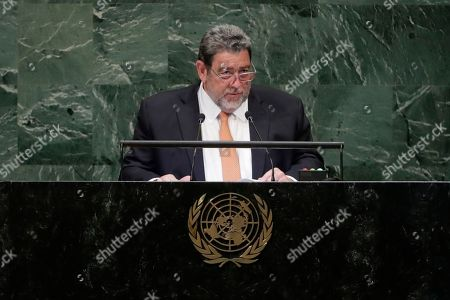 Prime Minister of Saint Vincent and the Grenadines Ralph Gonsalves addresses the 73rd session of the United Nations General Assembly, at the United Nations headquarters