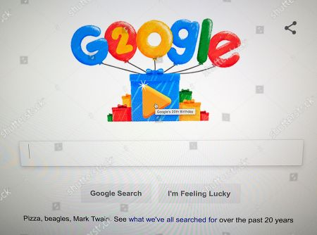 Google Doodles celebrates the search engine's 20th Anniversary as seen on the home page in Mountain View, California, USA, 27 September 2018. Google was founded by two Stanford University students, Larry Page and Sergey Brin in 1998.