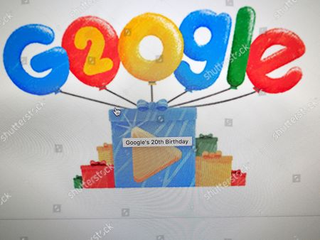 Stock Image of Google Doodles celebrates the search engine's 20th Anniversary as seen on the home page in Mountain View, California, USA, 27 September 2018. Google was founded by two Stanford University students, Larry Page and Sergey Brin in 1998.
