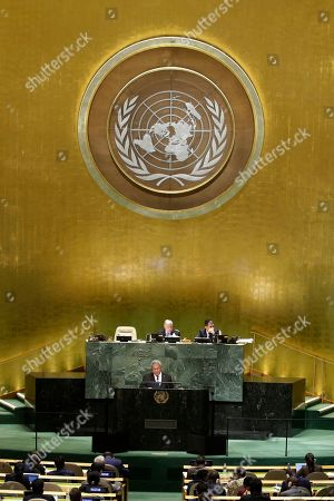 Enele Sosene Sopoaga, Prime Minister of Tuvalu, addresses the 73rd session of the United Nations General Assembly, at the United Nations headquarters