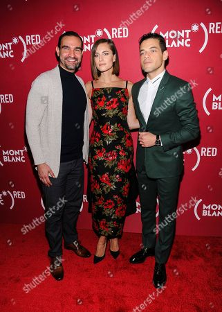 """Javier Munoz, Allison Williams, Rami Malek. Javier Munoz, from left, Allison Williams, and Rami Malek attend """"Write (RED), End AIDS"""" hosted by Montblanc and (RED) at World of McIntosh Townhouse, in New York"""