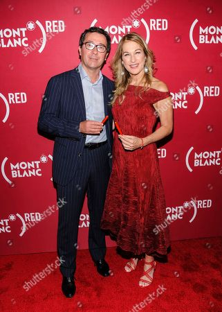 """Sylvain Costof, Deborah Dugan. Sylvain Costof, left, and Deborah Dugan attend """"Write (RED), End AIDS"""" hosted by Montblanc and (RED) at World of McIntosh Townhouse, in New York"""