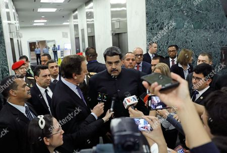 President of Venezuela Nicolas Maduro Moros (C) addresses the media on the sidelines of the 73rd session of the General Assembly of the United Nations at United Nations Headquarters in New York, New York, USA, 27 September 2018. The General Debate of the 73rd session will run from 25 September 2018 to 01 October 2018.