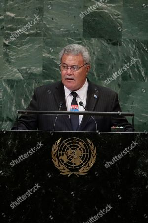 Enele Sosene Sopoaga, Prime Minister of Tuvalu addresses the 73rd session of the United Nations General Assembly, at the United Nations headquarters