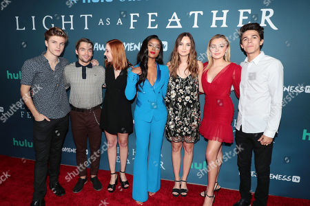 "Alex Lange, Dylan Sprayberry, Haley Ramm, Ajiona Alexus, Liana Liberato, Peyton List and Brent Rivera attend the premiere of AwesomenessTV and Hulu's ""Light as a Feather"" at Awesomeness HQ on Thursday, September 27 in Santa Monica, CA"