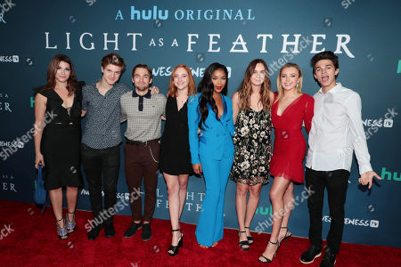 "Dorian Brown Pham, Alex Lange, Dylan Sprayberry, Haley Ramm, Ajiona Alexus, Liana Liberato, Peyton List and Brent Rivera attend the premiere of AwesomenessTV and Hulu's ""Light as a Feather"" at Awesomeness HQ on Thursday, September 27 in Santa Monica, CA"