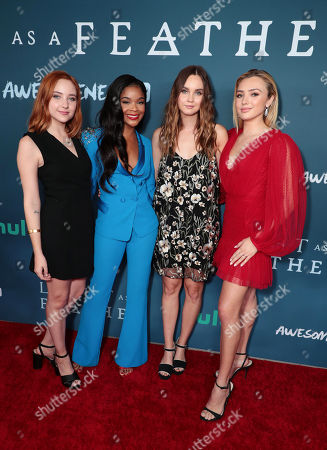 "Haley Ramm, Ajiona Alexus, Liana Liberato and Peyton List attend the premiere of AwesomenessTV and Hulu's ""Light as a Feather"" at Awesomeness HQ on Thursday, September 27 in Santa Monica, CA"