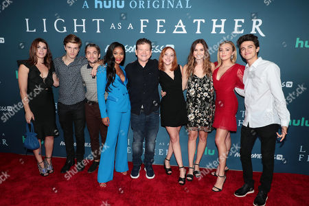 "Dorian Brown Pham, Alex Lange, Dylan Sprayberry, Ajiona Alexus, Creator/Showrunner R. Lee Fleming Jr., Haley Ramm, Liana Liberato, Peyton List and Brent Rivera attend the premiere of AwesomenessTV and Hulu's ""Light as a Feather"" at Awesomeness HQ on Thursday, September 27 in Santa Monica, CA"