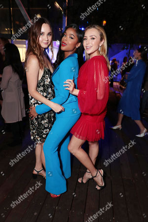 "Liana Liberato, Ajiona Alexus and Peyton List attend the premiere of AwesomenessTV and Hulu's ""Light as a Feather"" at Awesomeness HQ on Thursday, September 27 in Santa Monica, CA"