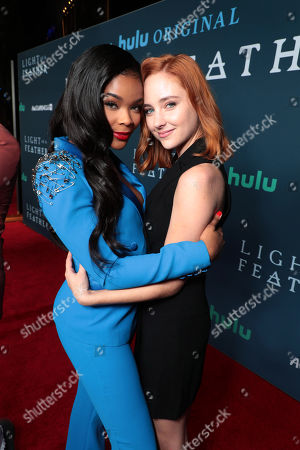 "Ajiona Alexus and Haley Ramm attend the premiere of AwesomenessTV and Hulu's ""Light as a Feather"" at Awesomeness HQ on Thursday, September 27 in Santa Monica, CA"