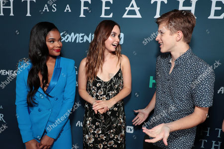 "Ajiona Alexus, Liana Liberato and Alex Lange attend the premiere of AwesomenessTV and Hulu's ""Light as a Feather"" at Awesomeness HQ on Thursday, September 27 in Santa Monica, CA"