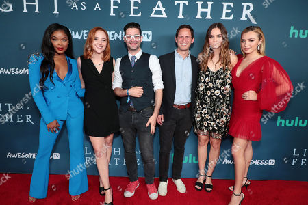 "Ajiona Alexus, Haley Ramm, Aron Levits - Head of Wattpad Studios, Eric Lehrman - Head of Content Dev. and Production - Wattpad Studios, Liana Liberato and Peyton List attend the premiere of AwesomenessTV and Hulu's ""Light as a Feather"" at Awesomeness HQ on Thursday, September 27 in Santa Monica, CA"