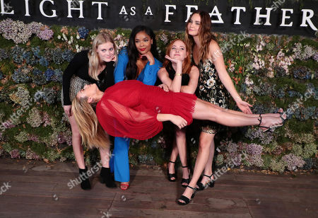 "Harley Graham, Peyton List, Ajiona Alexus, Haley Ramm and Liana Liberato attend the premiere of AwesomenessTV and Hulu's ""Light as a Feather"" at Awesomeness HQ on Thursday, September 27 in Santa Monica, CA"