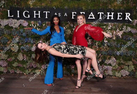 "Ajiona Alexus, Liana Liberato and Peyton List attend the premiere of AwesomenessTV and Hulu's ""Light as a Feather"" at Awesomeness HQ on Thursday, September 27 in Santa Monica, CA"