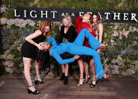 "Haley Ramm, Ajiona Alexus, Harley Graham, Peyton List and Liana Liberato attend the premiere of AwesomenessTV and Hulu's ""Light as a Feather"" at Awesomeness HQ on Thursday, September 27 in Santa Monica, CA"