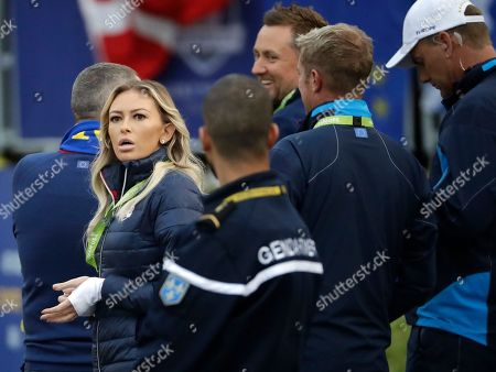 Paulina Gretzky, the partner of Dustin Johnson of the US watches him on the first tee during his fourball match on the opening day of the 42nd Ryder Cup at Le Golf National in Saint-Quentin-en-Yvelines, outside Paris, France