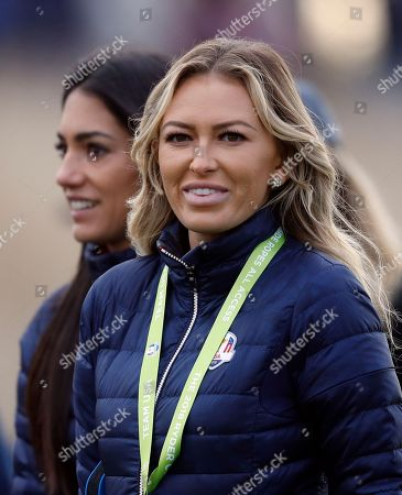 Paulina Gretzky, the partner of Dustin Johnson of the US, right, and Allison Stokke, the girlfriend of Rickie Fowler of the US watch their partners fourball match on the opening day of the 42nd Ryder Cup at Le Golf National in Saint-Quentin-en-Yvelines, outside Paris, France
