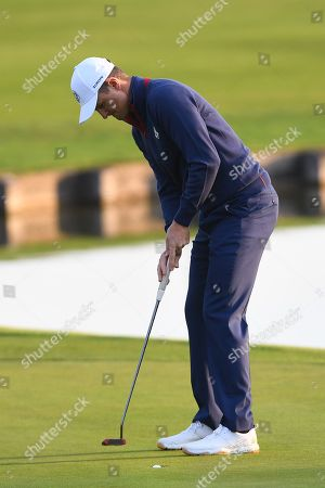 Stock Picture of Justin Rose of England makes a birdy by the 1st hole during the Ryder Cup 2018 at The Golf National in Guyancourt, near Paris, France, 28 September 2018. The Ryder Cup 2018 runs from 25 to 30 September.