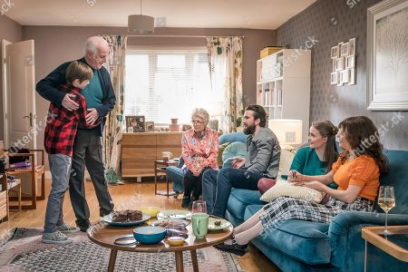(L-R) Callum Booth-Ford as Max, Sean McGinley as Peter, Alison Steadman as Barbara, Emmett J Scanlan as Stephen, Millie Gibson as Lily and Anna Friel as Vicky.