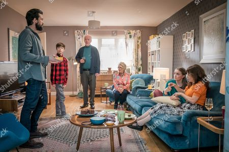 (L-R) Emmett J Scanlan as Stephen, Callum Booth-Ford as Max, Sean McGinley as Peter, Alison Steadman as Barbara, Millie Gibson as Lily and Anna Friel as Vicky.