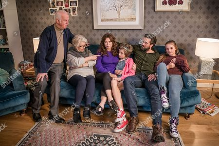 Stock Image of (L-R) Sean McGinley as Peter, Alison Steadman as Barbara, Anna Friel as Vicky, Callum Booth-Ford as Maxine, Emmett J Scanlan as Stephen and Millie Gibson as Lily.