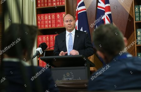 Australian Treasurer Josh Frydenberg speaks to the media during a press conference in Melbourne, Victoria, Australia, 28 September 2018. Frydenberg said that the culture and conduct of the financial sector have fallen below community standards, with greed and profit coming before honesty and integrity. A royal commission investigated a series of scandals involving misconduct in the nation's banking and financial service.