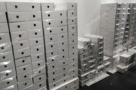 Stock Image of Boxes with new iPhone XS Max ready for sale in the Apple Store in Moscow, Russia, 28 September 2018. Apple introduced the new iPhone models on 12 September 2018. Media reports state that the popularity of new iPhone models in Russia has fallen compared to the iPhone X released in 2017.
