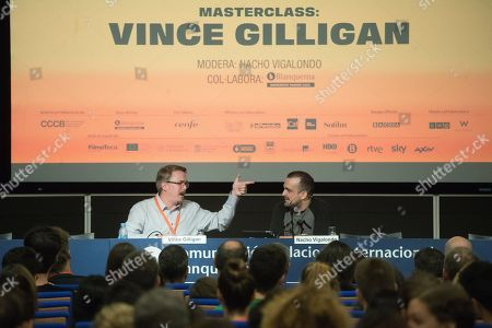 Creator of the TV series Breaking Bad, Vince Gilligan (L), and Spanish filmmaker Nacho Vigalondo (R) teach a Masterclass in Barcelona, Spain, 28 September 2018, on the sidelines of the 5th edition of Serielizdos Fest (Serielized Fest). The TV-series international festival is held from 27 to 30 September 2018.