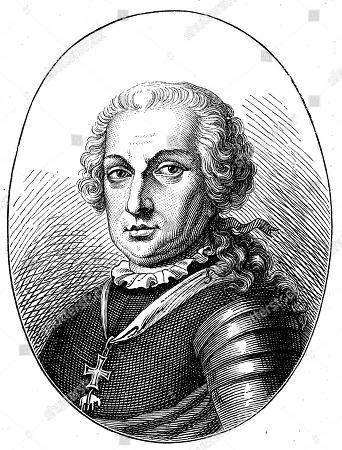 Maximilian Ulysses Count Browne, Baron de Camus and Mountany, October 23, 1705, June 26, 1757, was an Austrian field marshal, woodcut, Austria