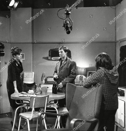 Pat Phoenix (as Elsie Tanner), Philip Lowrie (as Dennis Tanner) and Jennifer Moss (as Lucille Hewitt)