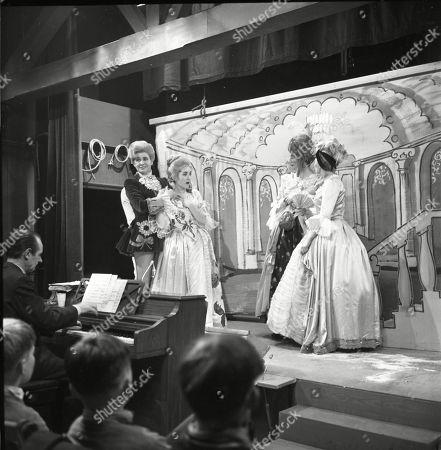 The Coronation Street pantomime. Eddie King (as Alf Chadwick), Pat Phoenix (as Elsie Tanner), Jennifer Moss (as Lucille Hewitt), Gordon Rollings (as Charlie Moffitt) and Sandra Gough (as Irma Ogden)
