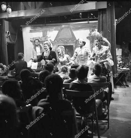 The Coronation Street pantomime. Eddie King (as Alf Chadwick), Jack Howarth (as Albert Tatlock), Pat Phoenix (as Elsie Tanner), Jennifer Moss (as Lucille Hewitt), Philip Lowrie (as Dennis Tanner), Gordon Rollings (as Charlie Moffitt) and Margot Bryant (as Minnie Caldwell)