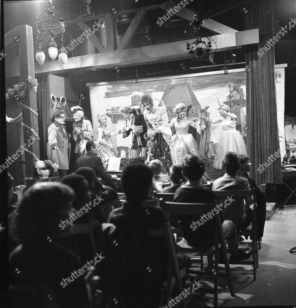 The Coronation Street pantomime. Jack Howarth (as Albert Tatlock), Eileen Derbyshire (as Emily Nugent), Eddie King (as Alf Chadwick), Jennifer Moss (as Lucille Hewitt), Pat Phoenix (as Elsie Tanner), Gordon Rollings (as Charlie Moffitt), Sandra Gough (as Irma Ogden) and Doris Speed (as Annie Walker)