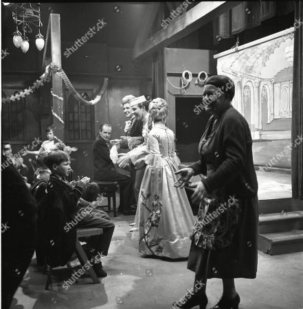 The Coronation Street pantomime. Eddie King (as Alf Chadwick), Pat Phoenix (as Elsie Tanner), Philip Lowrie (as Dennis Tanner), Jennifer Moss (as Lucille Hewitt) and Violet Carson (as Ena Sharples)
